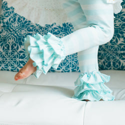 SweetHoney - Nelly Leggings - Soft Mint Stripe