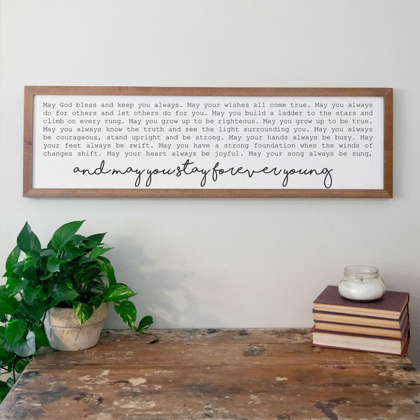 Smallwoods Forever Young Framed Wood Wall Sign Almond
