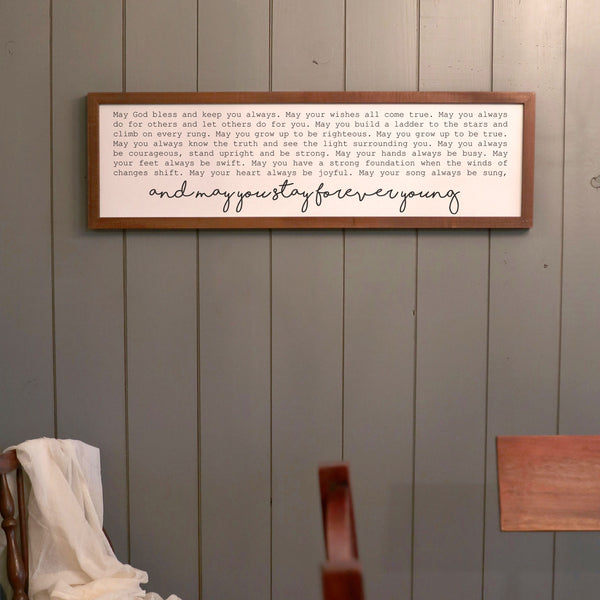 Smallwoods Forever Young Framed Wood Wall Sign Stain