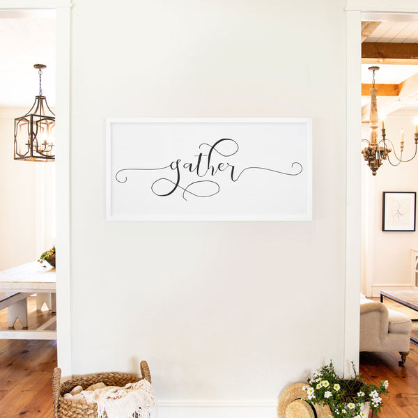 Smallwoods Gather Wood Sign XL White
