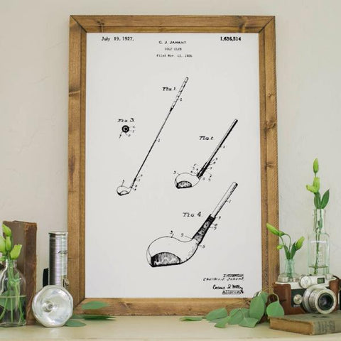 Wood Framed Signboard - Patent Drawing - Golf Club 1927 - M - 18x26