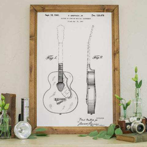 Wood Framed Signboard - Patent Drawing - Guitar - M - 18x26