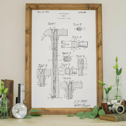 Wood Framed Signboard - Patent Drawing - Hammer - M - 18x26