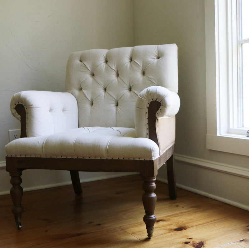 Charlotte Linen Tufted Chair (Local Pick Up Only)