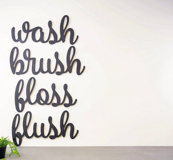 Wood Cutout - Wash, Brush, Floss, Flush