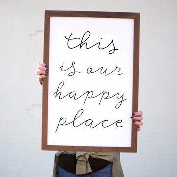 Wood Framed Signboard - This Is Our Happy Place [Closeout]