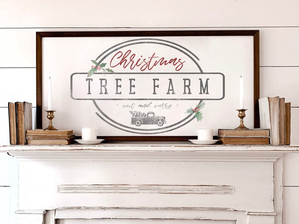 Wood Framed Signboard - Christmas Tree Farm - Multiple Sizes [HOLIDAY18]