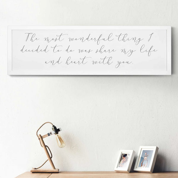 Wood Framed Signboard - Most Wonderful Thing - LG - 44x13