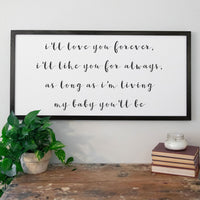 Smallwoods My Baby You'll Be Quote Sign XL Black