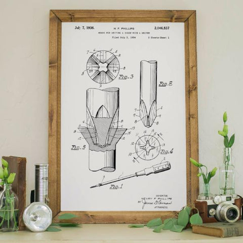 Wood Framed Signboard - Patent Drawing - Screw Driver Uniting - M - 18x26