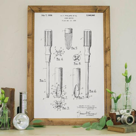 Wood Framed Signboard - Patent Drawing - Screw Driver - M - 18x26