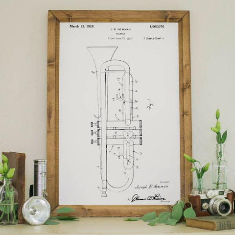 Wood Framed Signboard - Patent Drawing - Trumpet- M - 18x26