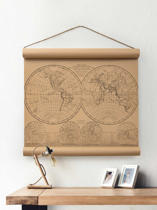 Wall Scroll - World Map Hemisphere - Multiple Sizes
