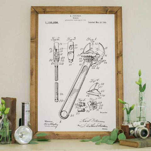Wood Framed Signboard - Patent Drawing - Wrench - M - 18x26