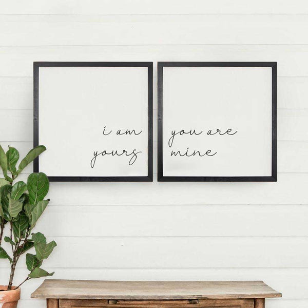 Wood Framed Signboard - Yours Mine - [DUO]
