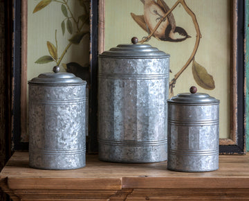 Tall Galvanized Canister Set of 3