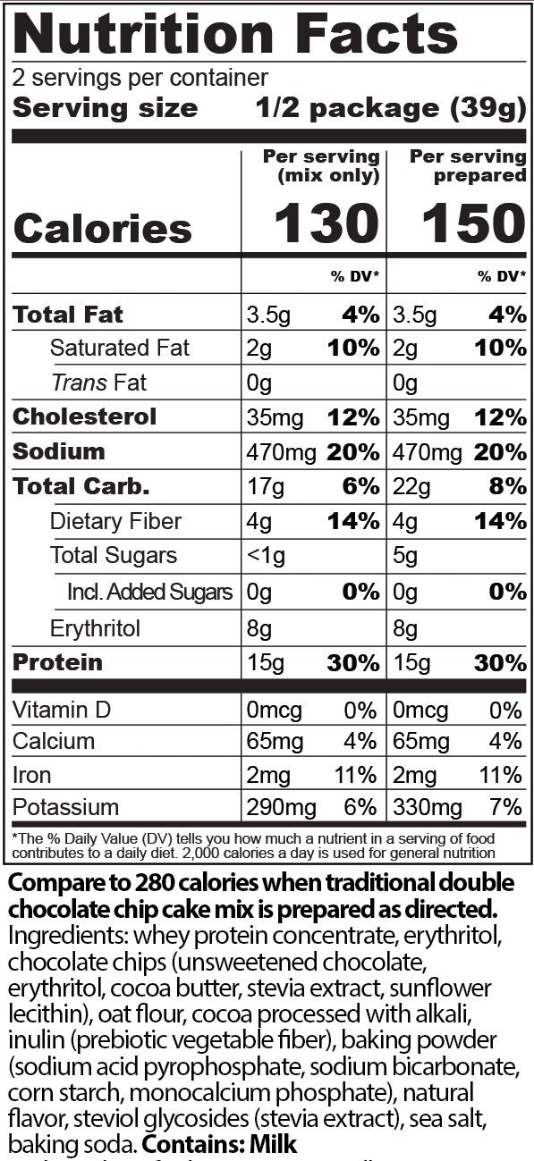 protein cakery chocolate cake mix nutrition