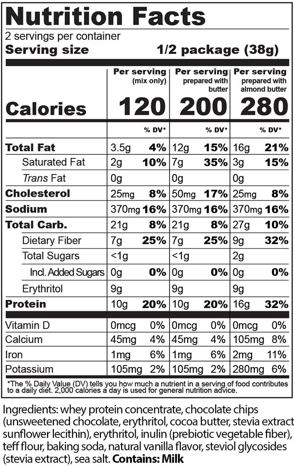 Protein Cakery Chocolate Chip Cookie Mix Nutrition