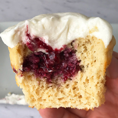 raspberry filled protein cupcake sugar free