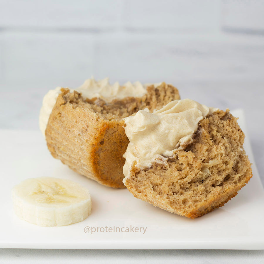 Recipe - Banana Cinnamon Protein Cake with Caramel Sugar-Free Frosting