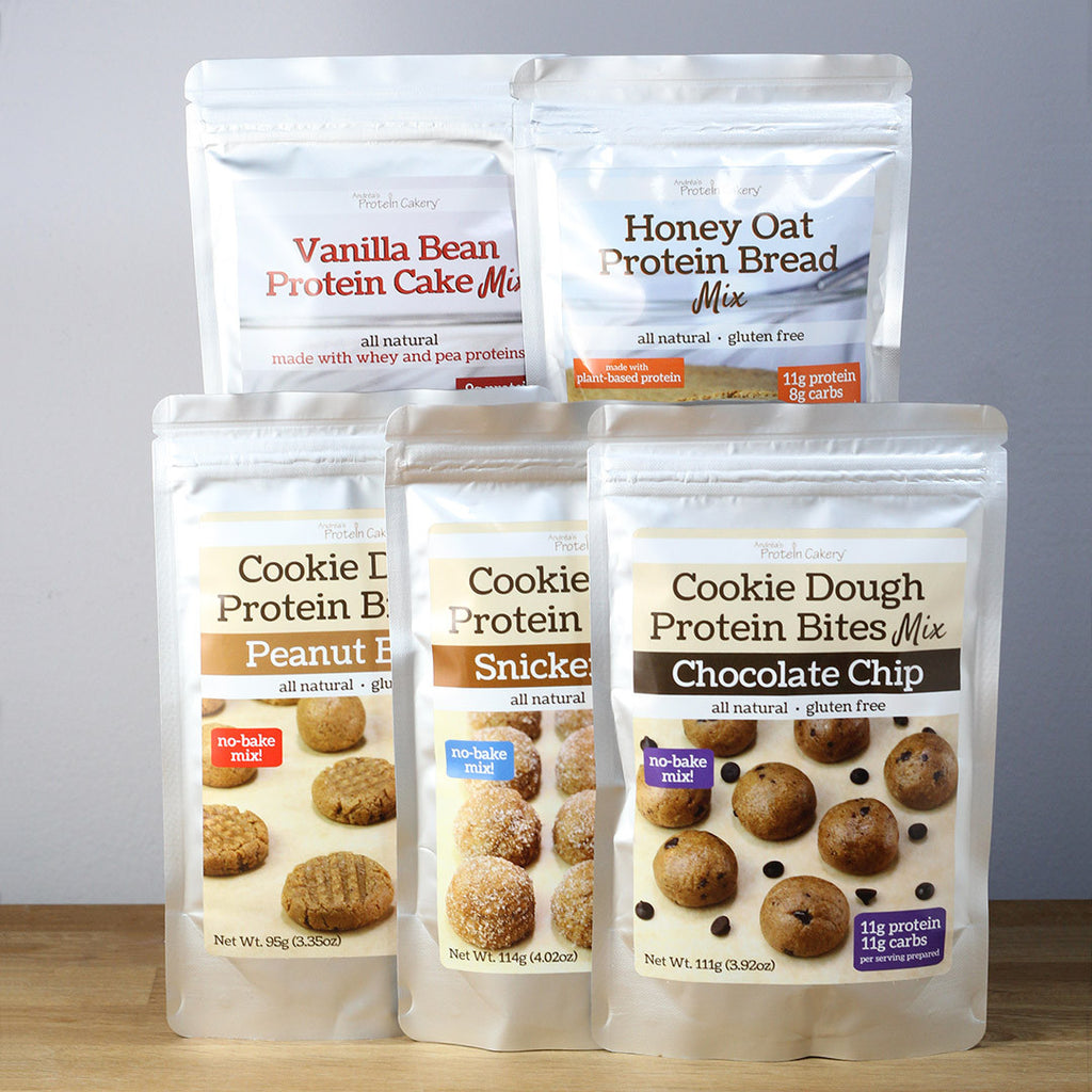 Gift Bundle - Sampler - Cake, Bread, and Cookie Dough Protein Bites Mixes