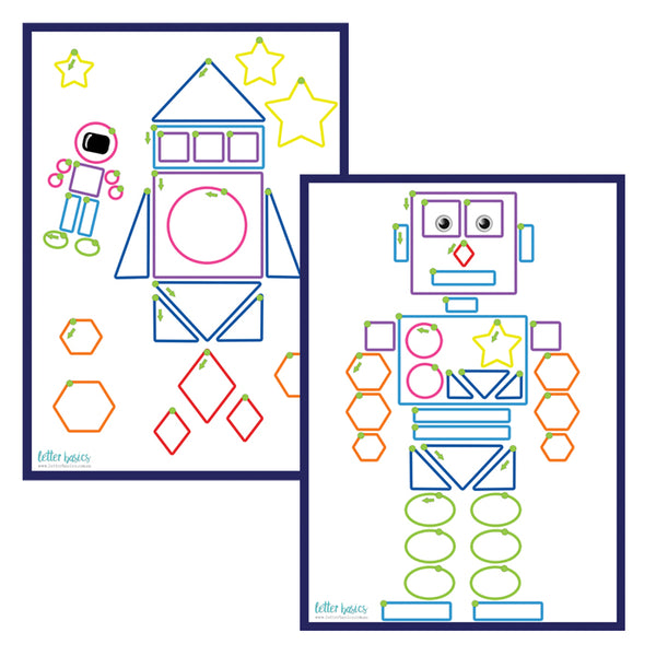 PRWD04. Shapes Handwriting Guides, Robot - Digital Download