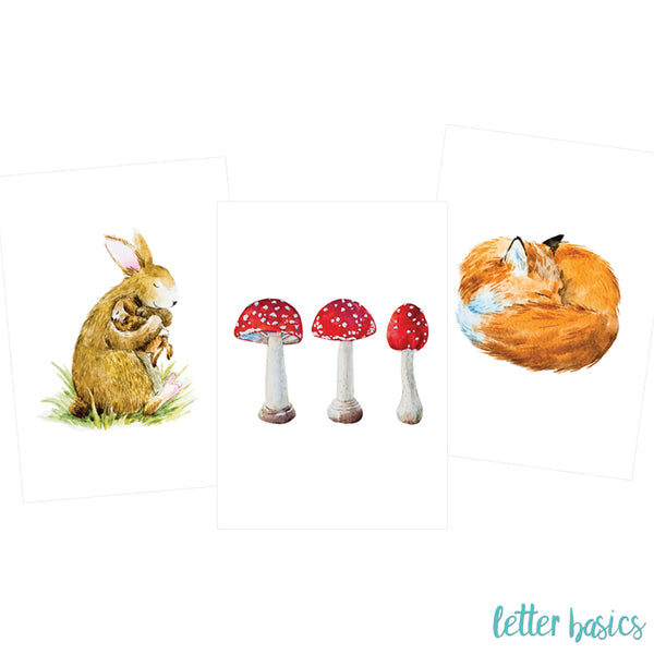 PD02. Set of 3 Nursery Posters, Watercolour Fox and Bunny - Digital Download