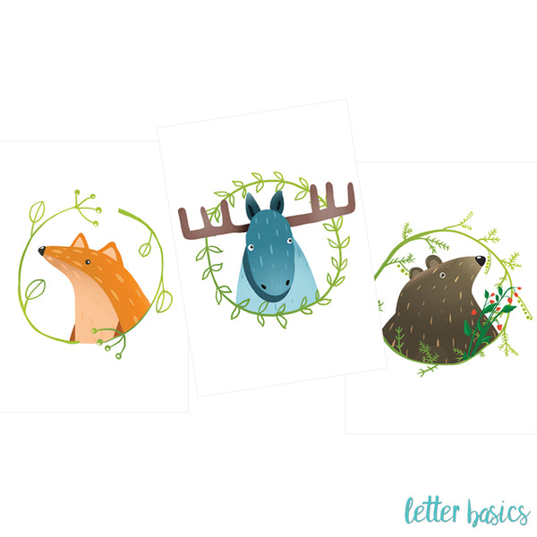 PD02. Set of 3 Nursery Posters, Forest with Bear - Digital Download