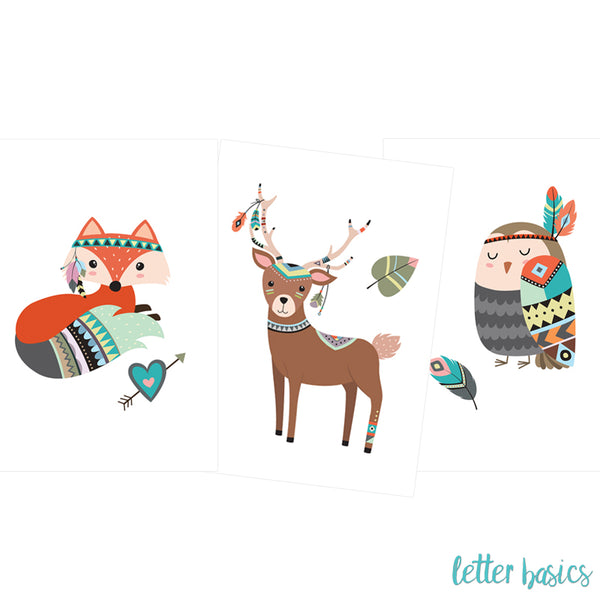 PD02. Set of 3 Nursery Posters, Tribal Friends - Digital Download