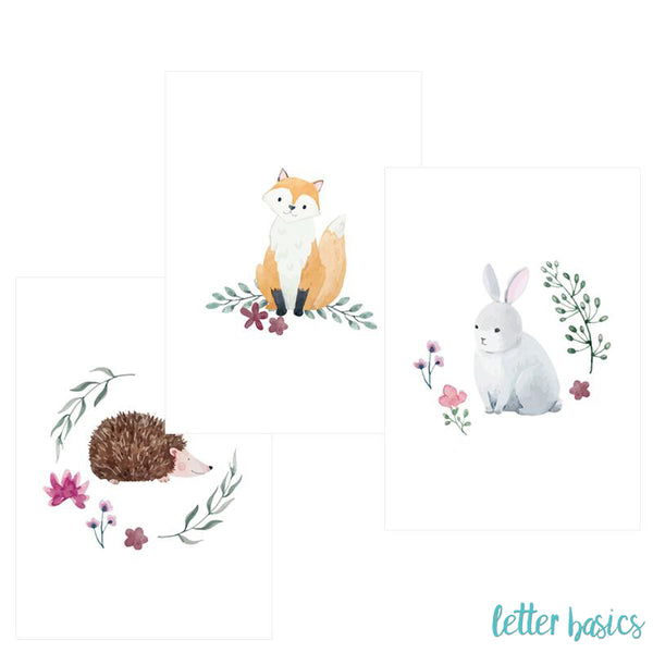 PD02. Set of 3 Nursery Posters, Forest Friends - Digital Download