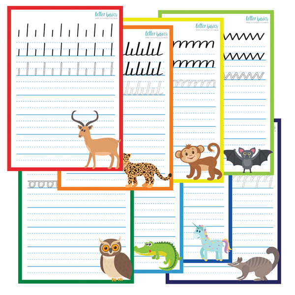 HW08. A4 Pre Running Writing Set of 4 Handwriting Guides - Plastic Print