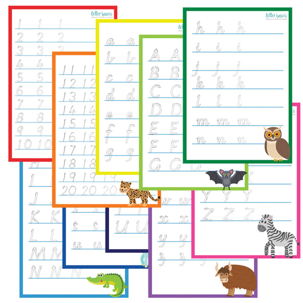 HWD06. Prep Set of 5 Handwriting Guides, plain lines - Digital Download