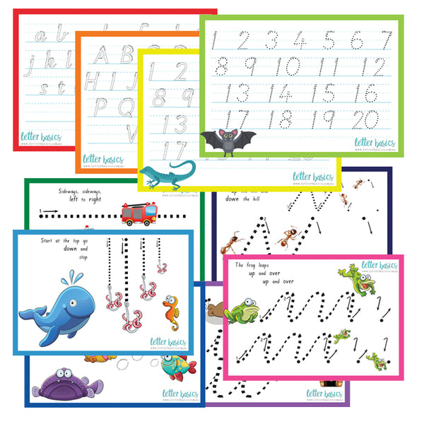 HW05. A4 Kindy Set of 5 Handwriting Guides - Plastic Print
