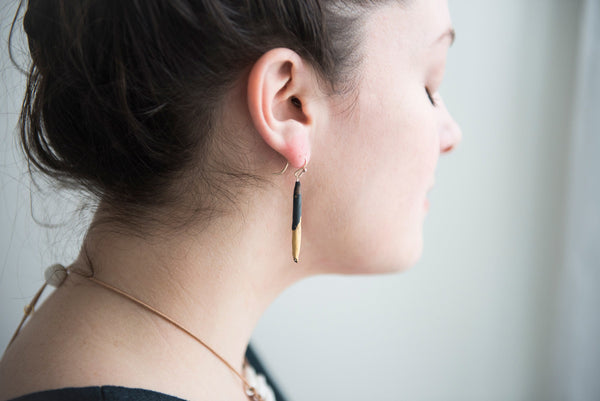 Tapered black earrings