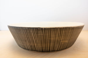Made-to-order Porcelain Serving Bowl Grey Stripe