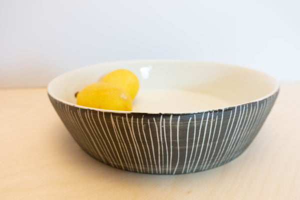 Porcelain Serving Bowl Grey Stripe