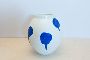 Porcelain moon jar blue drip