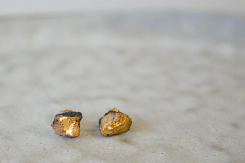 Gold Ore Earrings