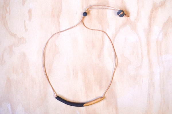 Black Tube necklace, gold dipped