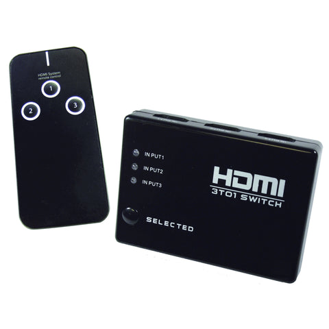 3-Way HDMI Selector Switch w/ remote control