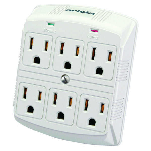 Arista Wall Mount 6 Outlet Surge Protector Arista