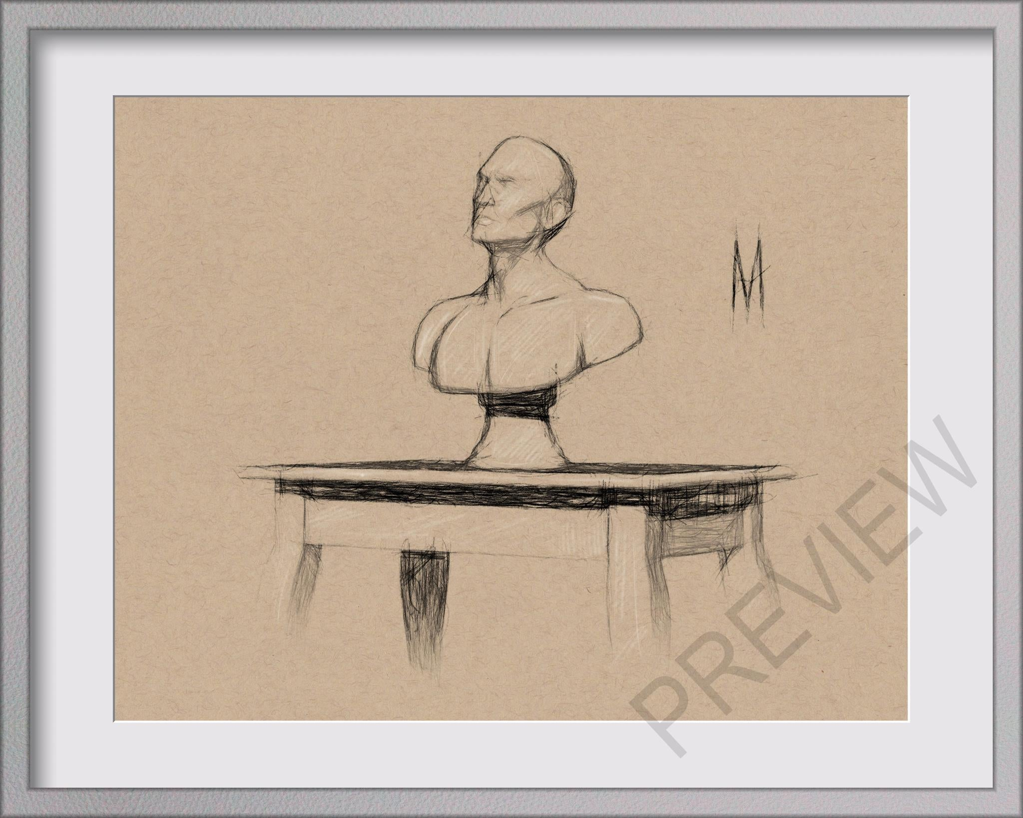 ORIGINAL MALE FIGURE BUST ON TABLE STILL LIFE 8x10 MIXED MEDIA DRAWING