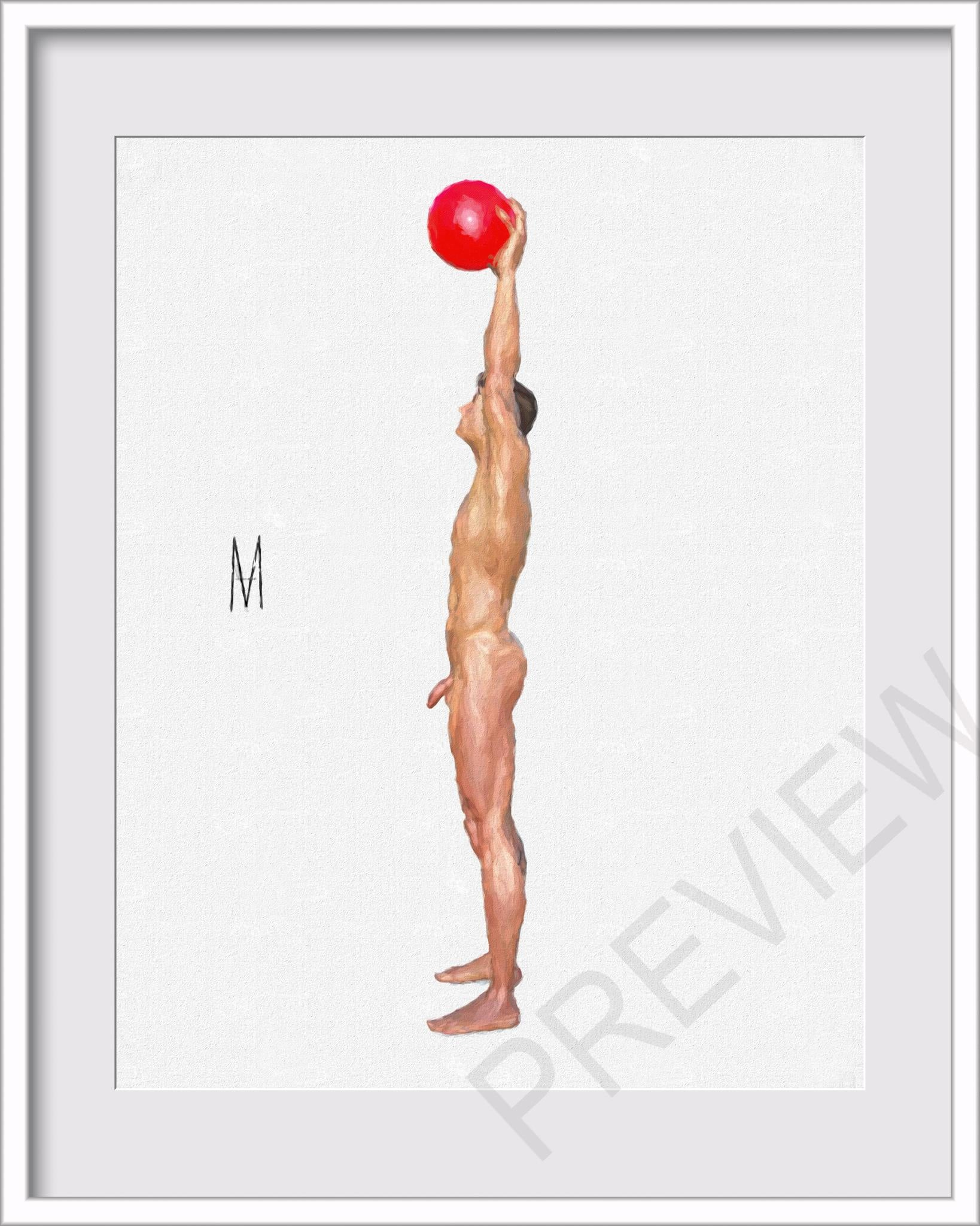 Nude Male Figure Pose 8x10 Canvas Painting Print