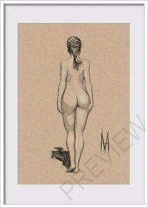 Original Nude Female Pose Figure Drawing On 5x7 Toned Tan Vellum Paper