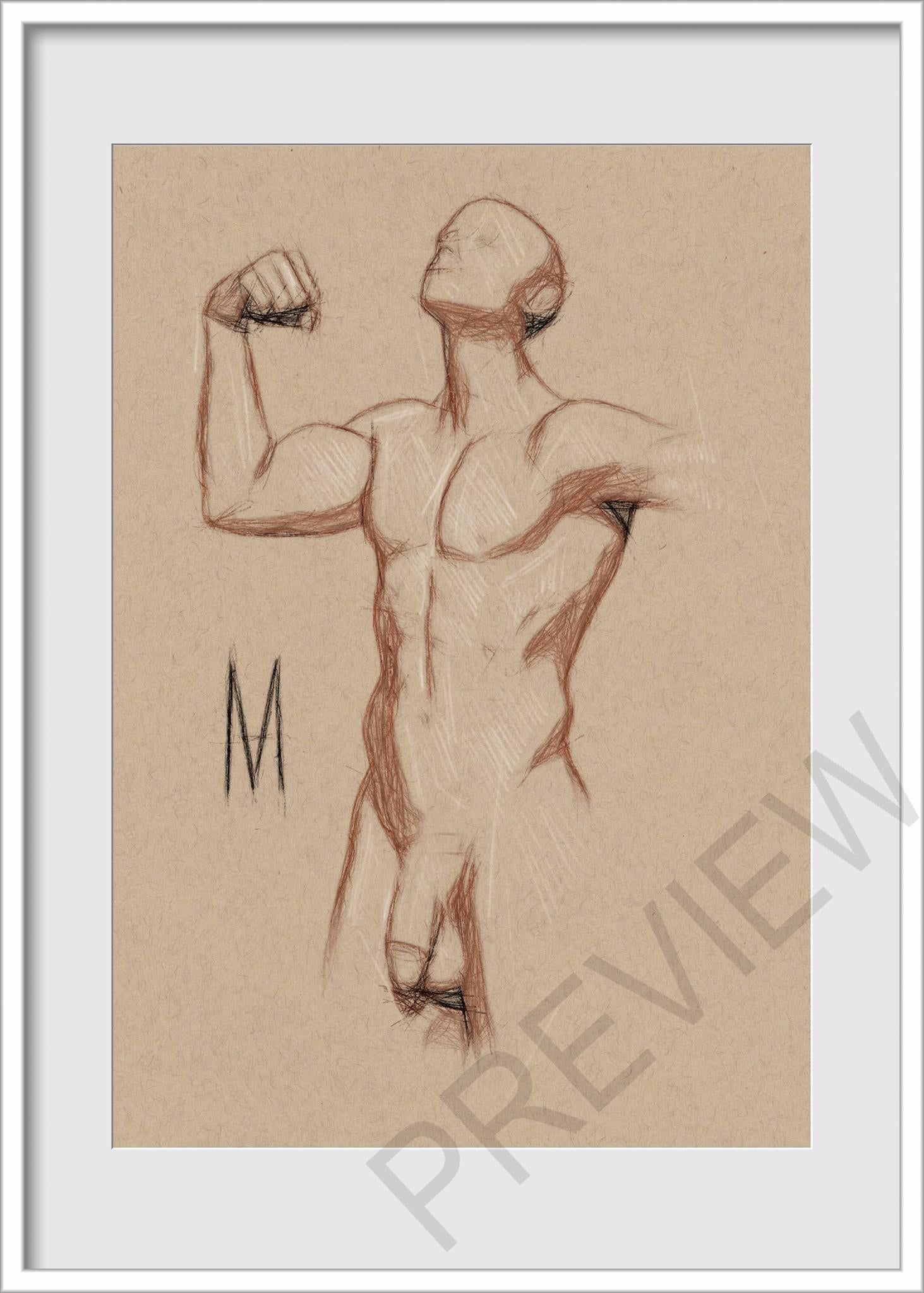 Original Nude Male Pose Figure Drawing On 5x7 Toned Tan Vellum Paper