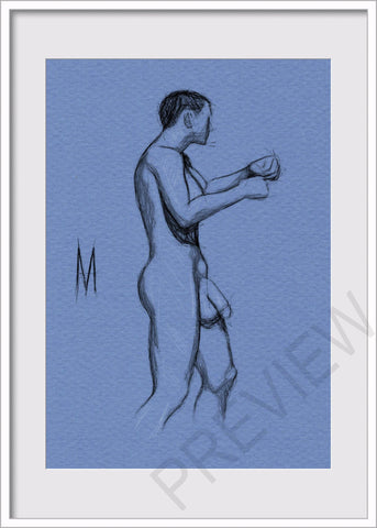 Original Nude Male Pose Figure Drawing On 5x7 Toned Icy Blue Paper