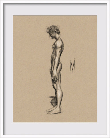 Original Nude Male Pose Figure Drawing On 8x10 Toned Tan Vellum Paper