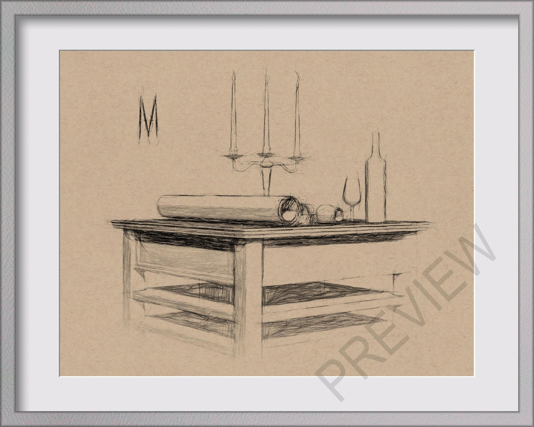 ORIGINAL WINE & CANDLE TABLE STILL LIFE 8x10 MIXED MEDIA DRAWING