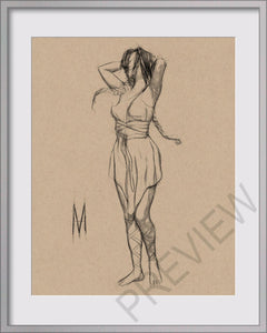 Original  Female In Dress Figure Drawing On 8x10 Toned Tan Vellum Paper