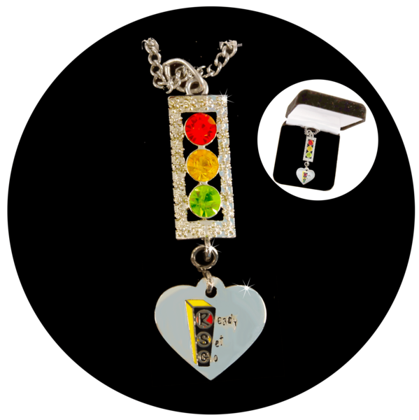 Ready Set Go Silver Tone Traffic Light with Heart Necklace - LIMITED TIME SPECIAL OFFER